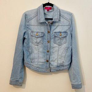 Light Wash Cropped Denim Jacket Women's Large